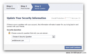 Facebook Account Security Question