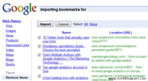 Google importing Bookmarks