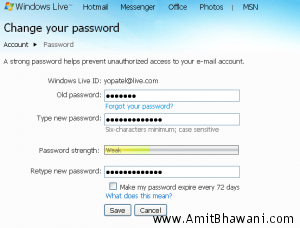 windows live password change