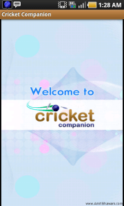 Cricket Companion Welcome Page