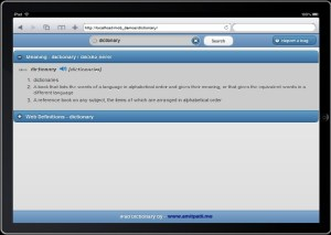 ipad dictionary app jquery mobile