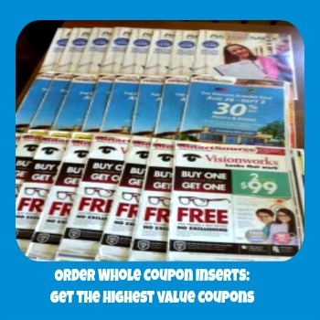 Whole Coupon Inserts: Order single whole inserts, 4 packs of all inserts for any given week, or 10 packs of all inserts for any given week. They also sell coupon binders for organizing your coupons and have a clearance bin for soon-to-expire coupons.