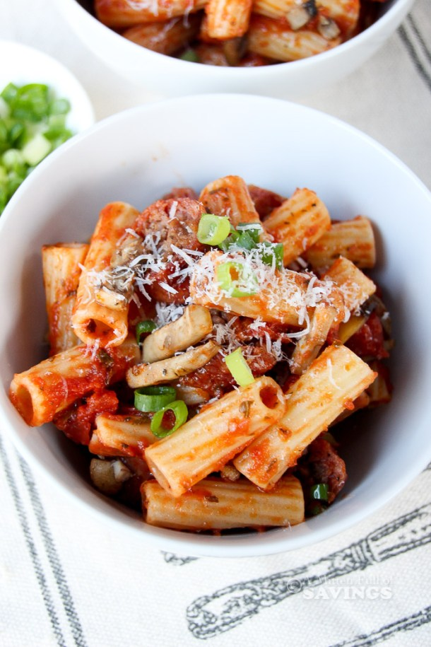 Here's an easy, budget-friendly recipe to make for dinner! Celebrate #bratsgiving with this recipe idea using rigatoni pasta, veggies, and grilled brats!