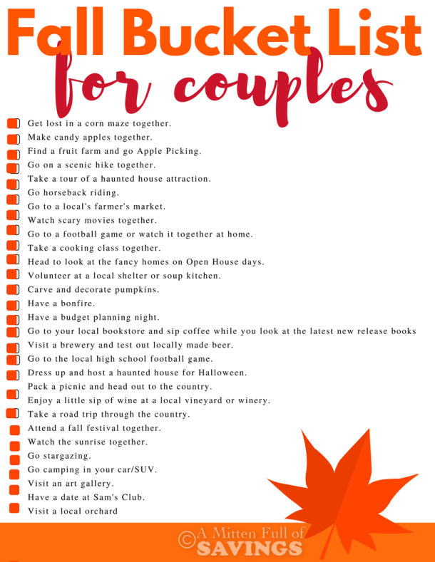 Get unique and fun ideas on what to do this fall for date night. Find free date night ideas, and fun ideas. Get our Fall Bucket List for Couples free printable on the blog!