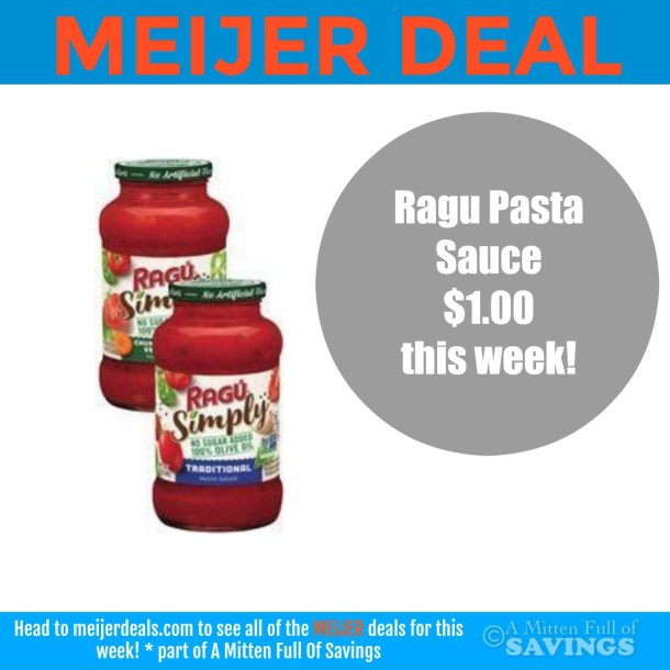 Ragu Pasta Sauce deal at Meijer