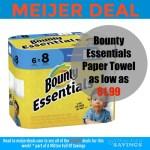 Meijer: Bounty Essentials Paper Towel as low as $1.99!