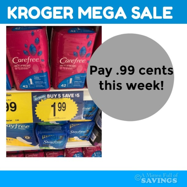 Carefree Liners .74- .99 cents at Kroger MEGA sale
