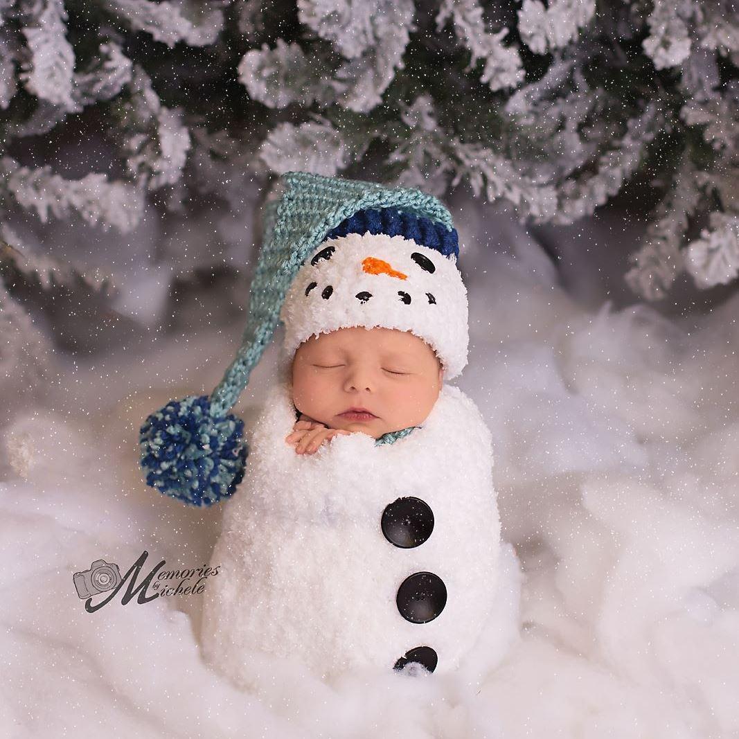 Crochet Newborn Snowman Hat and Cocoon Pattern | AMK Crochet