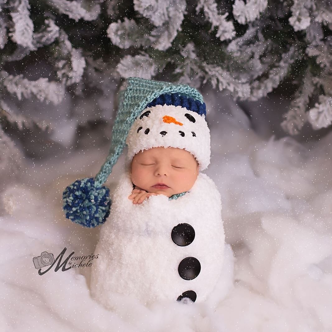 Crochet Newborn Snowman Hat and Cocoon Pattern | AMK Crochet