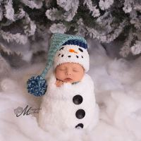 Crochet Newborn Baby Boy Snowman First Christmas Photo Prop Pattern by AMKCrochet.com