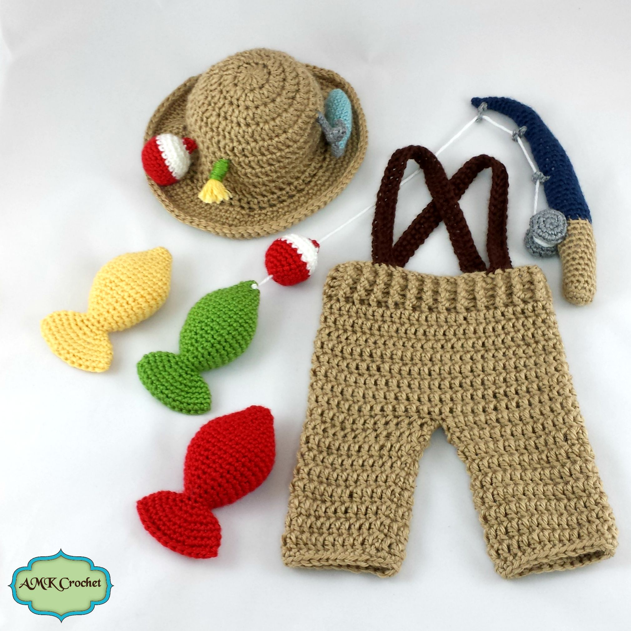 Crochet Newborn Fisherman Outfit Pattern | AMK Crochet