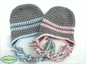 Crochet Striped Hat Beanie Style Pattern by AMKCrochet.com