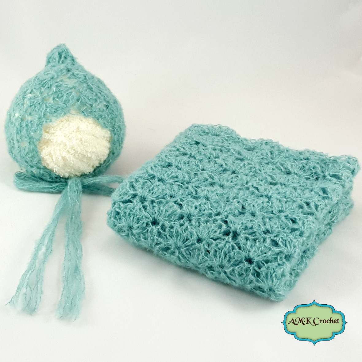 Newborn Lace Bonnet Hat and Wrap Photo Prop | AMK Crochet