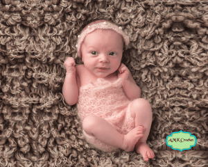 Newborn Lace Mohair Romper and Tie Back Headband with Shells and Pearls Photo Prop by AMKCrochet.com