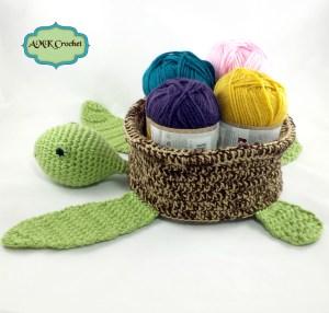 Crochet Sea Turtle Basket Pattern by AMKCrochet.com
