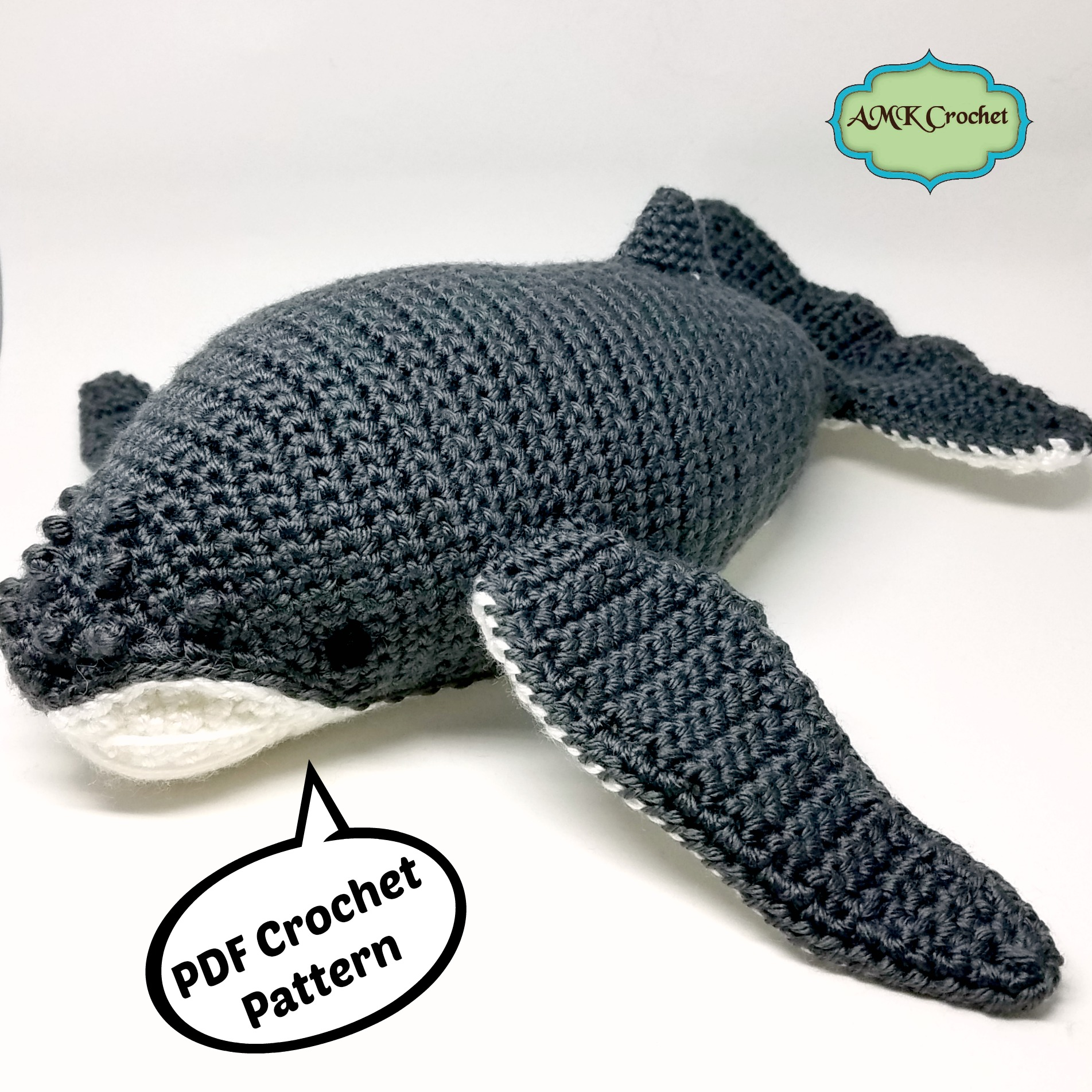 crochet humpback whale plush toy pattern amk crochet
