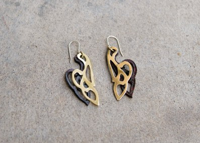 LAE1 - Leather carving and brass earrings