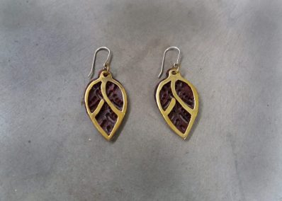 LAE4 - Leather carving and brass earrings