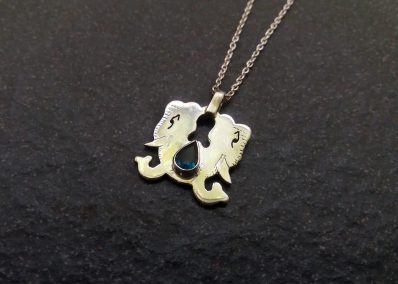 NK3 Silver double Elephant pendant with Topaz