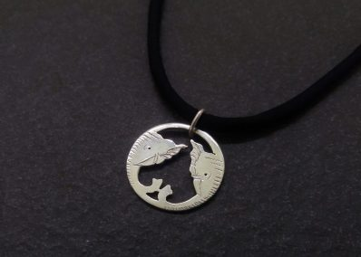 NK9 - Silver elephant pendant on Silk cord