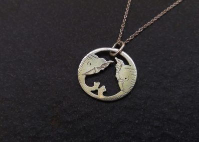 NK9 - Silver elephant Pendant on silver chain