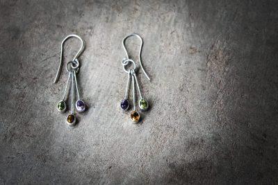 OJ2 -silver and mixed stone earrings: Peridot / Amethyst / Zircon