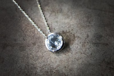OJ7 -silver pendant with faceted quartz and silver chain