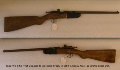 The Cooey Ace .22 Caliber Rimfire Rifle Used By Bella Twin To Kill The World Record Grizzly Bear in 1953 in Alberta, Canada