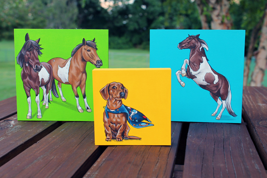 Pet Paintings by Kim @ Yellow Brick Home - via Ammo the Dachshund