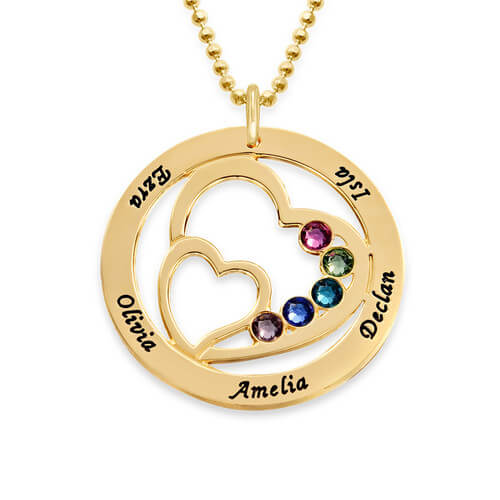 Heart in Heart Birthstone Necklace for Moms - Gold Plating