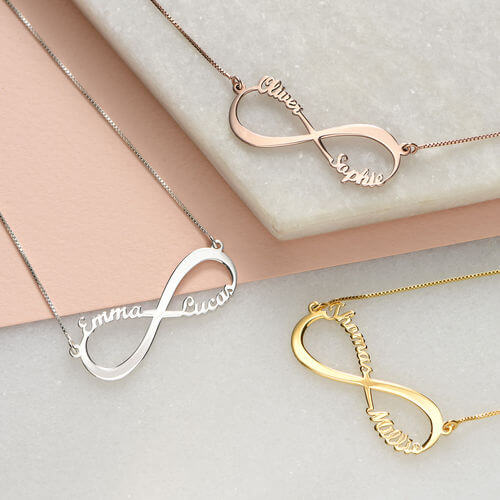 Infinity Name Necklace Rose Gold Plated