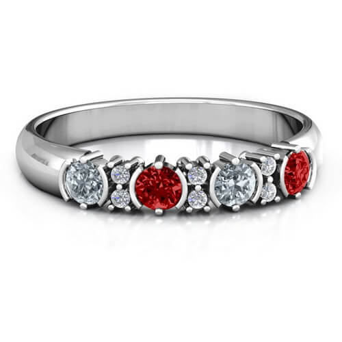 4 Stone Circular Half Bezel and Twin Accent Ring