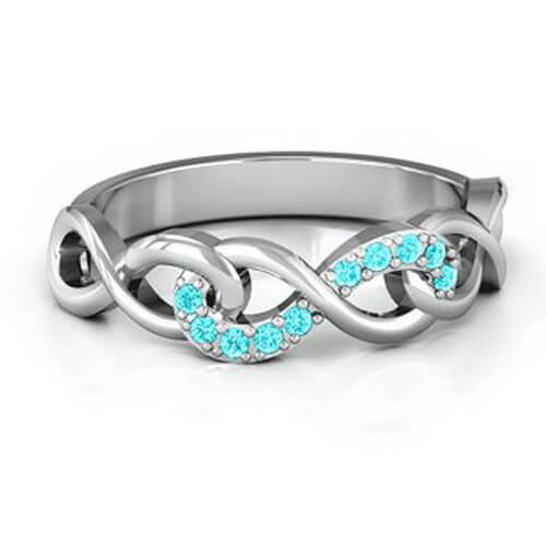 Triple Entwined Infinity Ring with Accents
