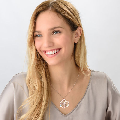 Personalized Triple Heart Necklace with Rose Gold Plating