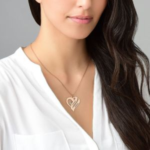 Two Hearts Forever One Necklace with Birthstones - Rose Gold Plated