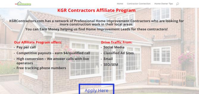 KGR Contractors pay per call affiliate program