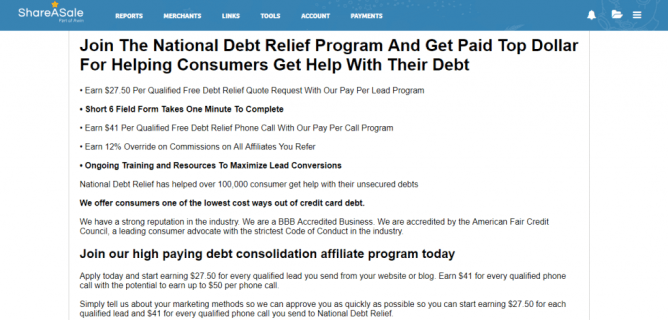 National Debt Relief affiliate payouts