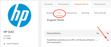 HP affiliate paid search terms