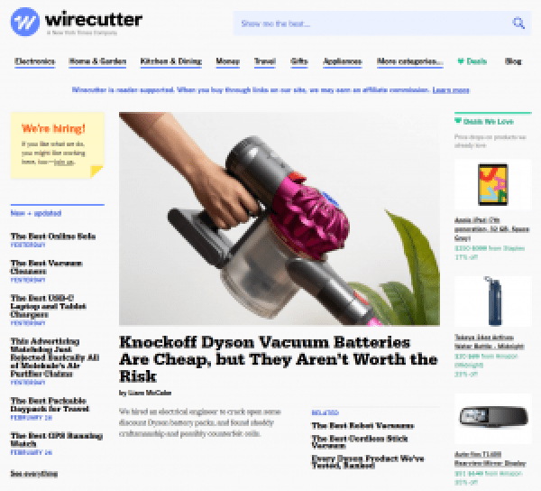 Wirecutter example of content affiliate