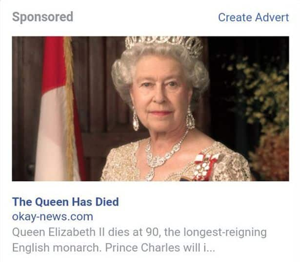 Fake-news ضحكة تقنية: وفاة الملكة إليزابيث ومقتل دونالد ترامب على فيس بوك