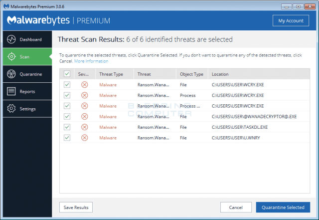 Malwarebytes-Anti-Malware-2 كيفية حذف فيروس الفدية WannaCry من حواسيب ويندوز المصابة