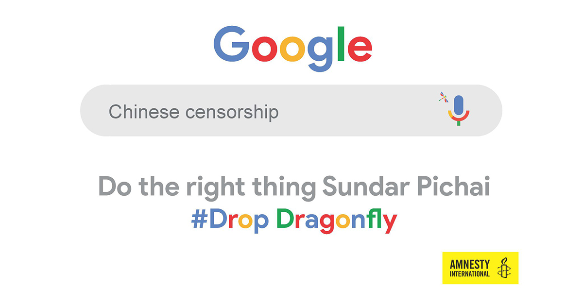Google: Drop Project Dragonfly | Amnesty International UK