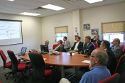 Kendra Peek/kendra.peek@amnews.com A group of officials from Meggitt, along with Gov. Matt Bevin and others, before a tour of the facility.