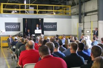 Kendra Peek/kendra.peek@amnews.com Gov. Matt Bevin addresses the employees and visitors to Meggitt Aircraft Braking Sytems, celebrating a $9.3 million expansion project.