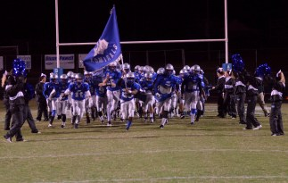 Jeremy Schneider/jeremy.schneider@amnews.com Danville takes the field before its Class 2A playoff game against Allen Central on Friday at Admiral Stadium.