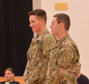 Photo submitted Boyle County High School students Ben Retallick, left, and Dault Hogue, right, were recognized in front of their classmates during the school's Veteran's Day service for their enlistment in the National Guard, with commitment to go into the United States Army after college.