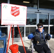 Boyle County High School freshman, Myles Bell, was a volunteer bell ringer for The Salvation Army outside of Kroger on Monday.