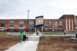 Grass has yet to be planted in front of Toliver Elementary Schools new addition.
