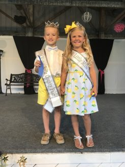 Photos submitted: Little Miss Boyle County Fair Ember Genco and Little Mister Boyle County Fair Landon Brown pose in matching outfits.
