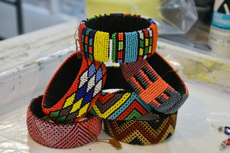 Jacquie Woodward has aquired these glass beaded bracelets woven in South Africa